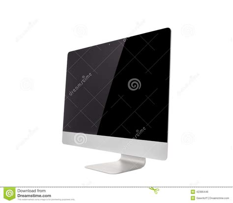 time frame template mac blank monitor or computer desktop on white table in sunny