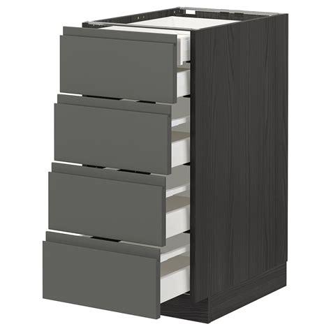 Ikea makes getting a sleek european kitchen affordable. METOD / MAXIMERA black, Voxtorp dark grey, Base cb 4 frnts ...