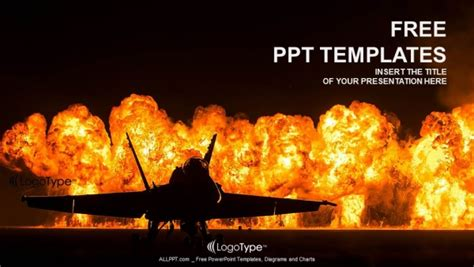 jet fighter  fire powerpoint templates