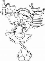 Coloring Waitress Pages Sheet sketch template