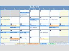October 2019 Calendar With Holidays – printable weekly