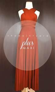 maxi plus size burnt orange bridesmaid dress prom dress With burnt orange wedding dress