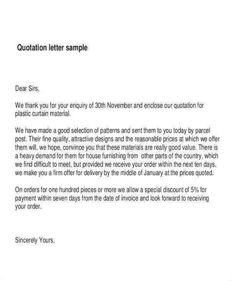 cover letter  sending quotation price guidelines