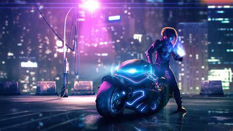 cyberpunk bike street light hd