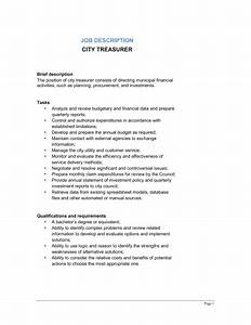 City Treasurer Job Description Template  U2013 Word  U0026 Pdf