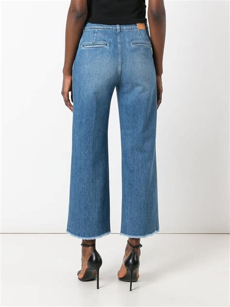 lyst closed frayed wide leg in blue