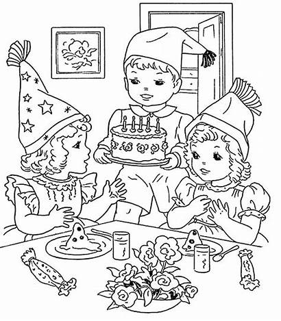 Birthday Coloring Party Pages Cake Cooking Drawing