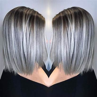 Balayage Blonde Hair Ash Silver Short Bob