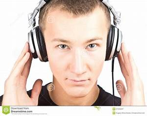 Man With Earphones Listening To Music Royalty Free Stock ...
