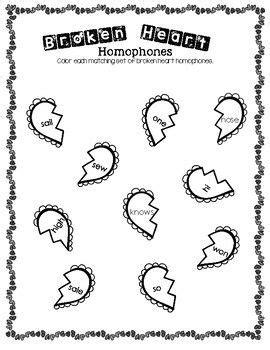broken heart homophones worksheet  images