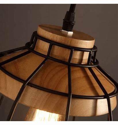 Suspension Bois Metal Noir Socle Avec Hanglamp