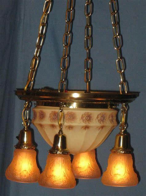 antique electric brass ceiling  light fixture custard