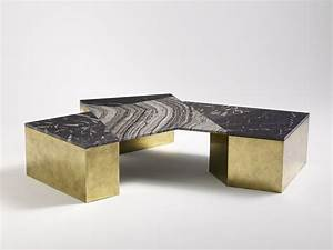 patrick parrish collection brian thoreen mixed marble With black geometric coffee table