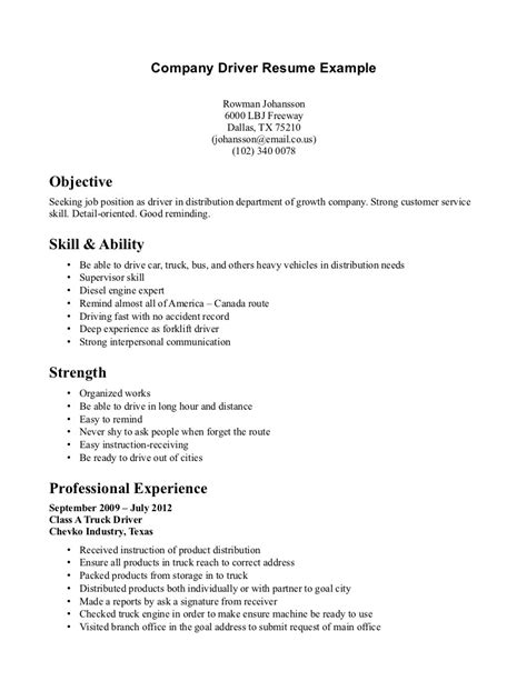 company cv 4 the best ways to create a resume for a driver