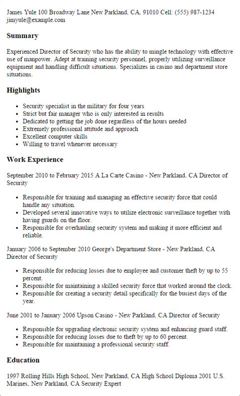 Director Of Security Resume Exles by 1 Director Of Security Resume Templates Try Them Now
