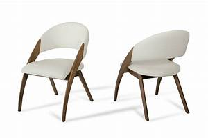 Modrest Lucas Mid-Century Cream & Walnut Dining Chair