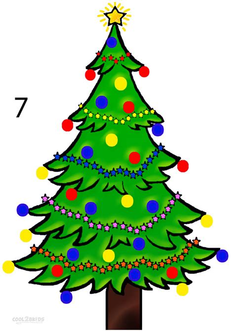 how to draw a christmas tree step by step pictures