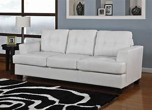 Diamond white leather sofa bed for Leather sofa bed