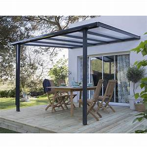 couverture de terrasse adossee tradition aluminium gris With beautiful toile jardin leroy merlin 16 pergolas pour terrasse