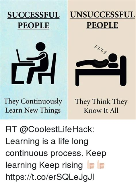 Know It All Meme - successful unsuccessful people people they continuously they think they learn new things know it