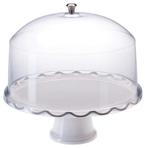 white cake stand  dome removable pedestal