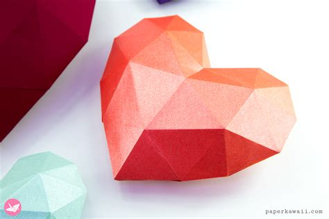 paper heart tutorial template paper kawaii