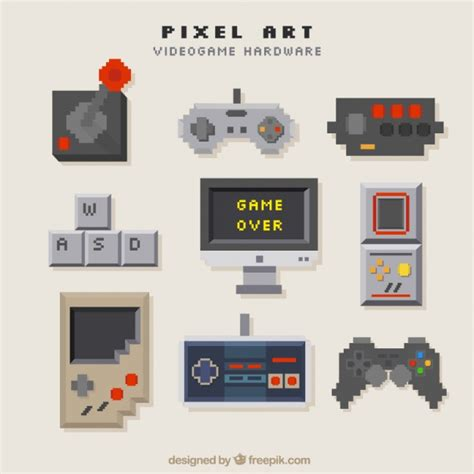 Consoles Set In Pixel Art Style Vector Free Download