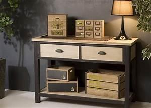 Console Fer Et Bois : console en bois et fer 2 tiroirs 1 tag re lina maison ~ Teatrodelosmanantiales.com Idées de Décoration