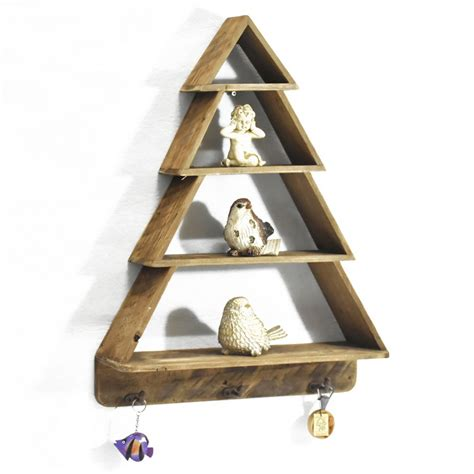 tier christmas tree shape reproduction furniture wooden wall shelf floating farmhouse style