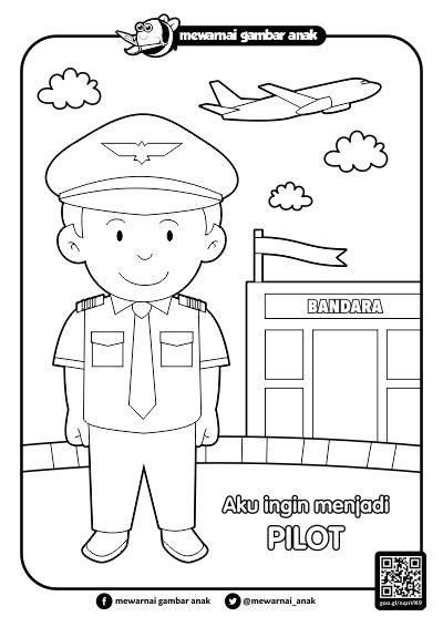 mewarnai gambar anak mewarnai gambar cita cita pilot