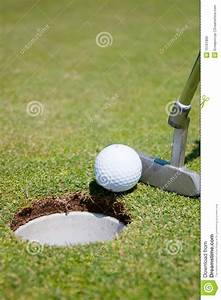 Golf Hole With Ball And Putt Royalty Free Stock Photo ...