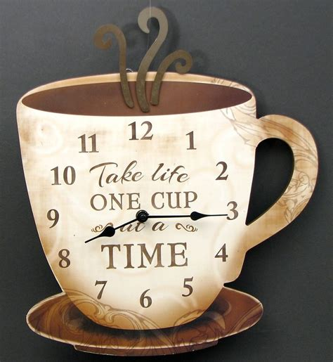 Cobleys Coffee House And Kitchen by Coffee Cup Wall Clock Wooden Kitchen Coffee Bar Decor 15