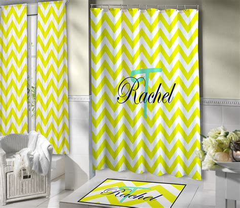 Yellow And White Dorm Bathroom Shower Curtain With Blue