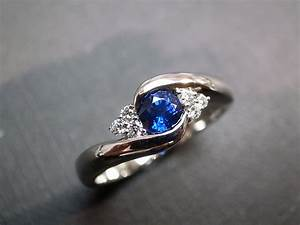 diamonds wedding ring with blue sapphire in 14k white gold With blue sapphire wedding ring