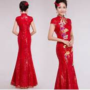 Embroidered-floral-red-sequins-mandarin-collar-modern-qipao-floor ...