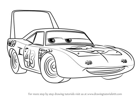 cars characters drawings learn how to draw the king aka strip weathers from cars 3