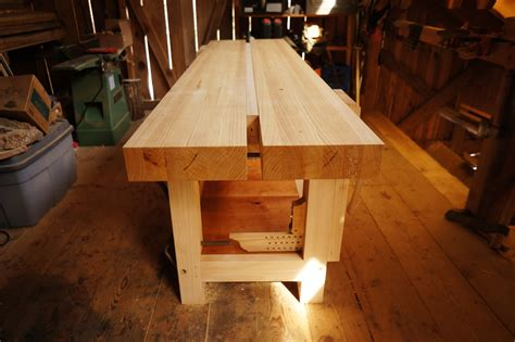 finished ash split top roubo workbench  year  mud
