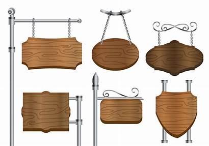Sign Vector Banner Blank Wooden Steel Clipart