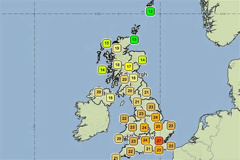 range weather forcast for uk uk weather heatwave alert for 42 hours that could kill starts tomorrow mirror