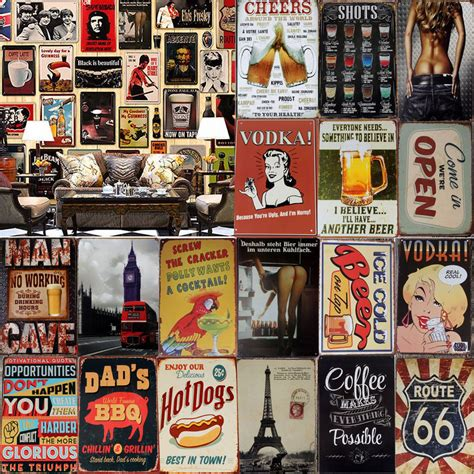 vintage metal tin sign poster plaque bar bar club cafe home plate wall deco ebay