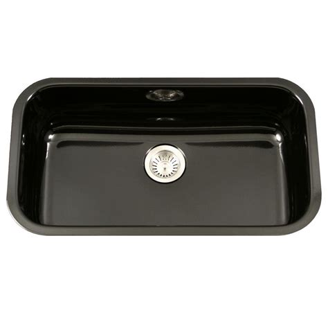 black ceramic kitchen sinks houzer porcela series undermount porcelain enamel steel 31 4659