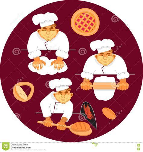 Vector Illustration Baker Making Bread. Stock Illustration