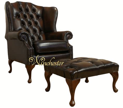 vintage brown leather chair chesterfield stamford offerhigh back wing chair footstool 6781