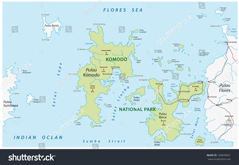 komodo national park map stock vector  shutterstock