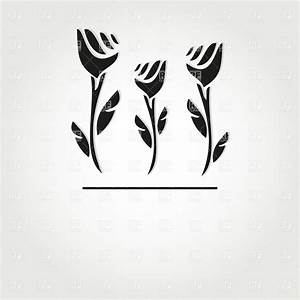 Simple hand drawn flowers - roses silhouette, 22016 ...
