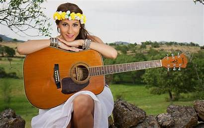 Country Guitar Background Wallpapers Singer Field Playing