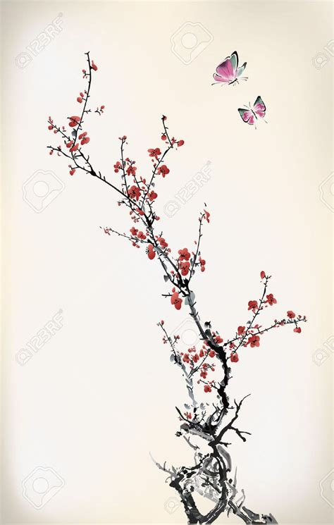 ink winter sweet stock vector cherry blossom tree