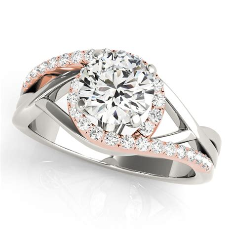 1 2ct halo two tone intertwined s diamond wedding engagement ring in gold ebay