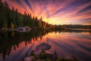 Photography, Nature, Landscape, Lake, Sunset, Boathouses
