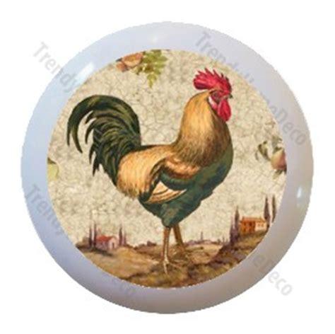 country rooster chicken ceramic knobs pulls kitchen drawer